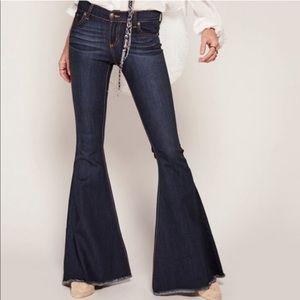 Free People • Super Flare Raw Hem Jeans